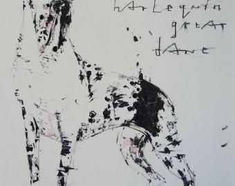 Jackson the Harlequin Great Dane Dog, original drawing on paper