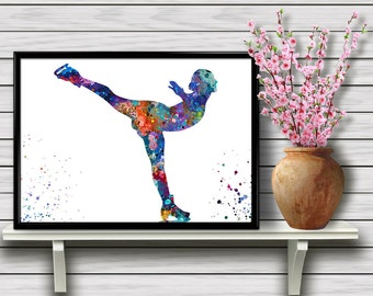 Ice Skating Girl, Sport, Figure Skating, Home Decoration, Hobby, Colorful Watercolor Room Decor, gift, Instant Download (06)