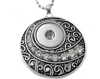 Snap Jewelry Necklace - Moon Sphere Snap Necklace, Silvertone. Fits 18-20mm Gingersnaps, Noosa, Magnolia & Vine, N8-R