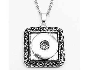 """Snap Necklace -  Scroll Square Frame Snap Necklace, 24"""" Link Chain, Silvertone. Fits 18-20mm Ginger Snaps, Noosa, Magnolia and Vine, N8"""