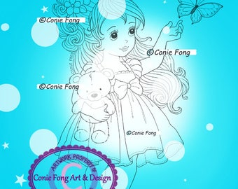 Digital Stamp, Digi Stamp, digistamp, Conie Fong, girl, princess,butterfly, teddy bear, birthday, coloring page