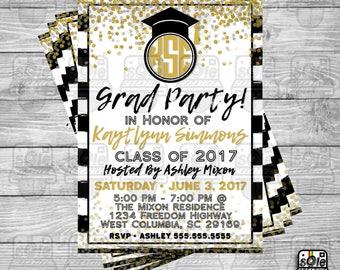 Black & Gold Monogram Graduation Invitation!