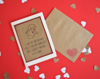 I Like My Valentines Like I Like My Burritos - Valentine's Day Card - Greeting Card - Chips & Salsa - Tortilla - Mexican Food - Love