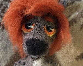 Needle Felt Anthro Hyena Art Doll