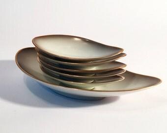 Leaf-shaped bowl of organising plus 5 bowls, Rosenthal, Kornach