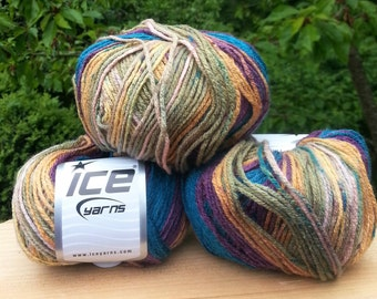 Knitting yarn. Lot of 3 Skeins Ice Yarns. Multicolored yarn Acrylic yarn. Yarn for knitting.  Vegan Friendly!