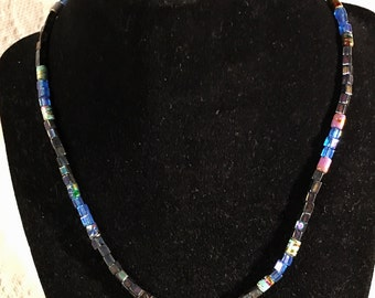 Square/blue beaded necklace