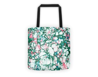 Marble Tote | Beach Bag | Shopping Tote | Weather Resistant | Book Bag | Watercolor Ink | Green & Pink |  Shopping Bag | Waterproof Tote