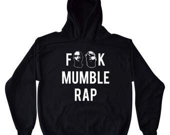 F**K Mumble Rap Hip Hop Men's / Unisex - Black Hoodie Biggie Smalls Tupac Shakur 2pac Nas Jay-Z 80s 90s Retro Music