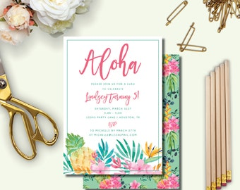 Aloha, Tropical, Hawaiian, Pineapple, Summer, Spring, Luau Birthday Party Invitation, Printable