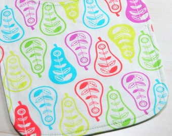 Pear Baby Bib Reversible with Green Dot Print on the Other Side