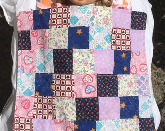 Dolls quilt with matching pillow, patchwork, pink, navy, light blue, floral, girls, pretend play, dolls bedding, toys, hearts, handmade,