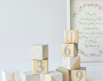 Wooden Number blocks ~ Neutral Colours Building blocks 1 2 3 ~ Educational ~ Numbers 0 - 9 ~ 4x4 cm. PINE dipped in Grey, Beige and White
