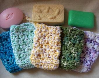 Cotton Soap Saver Bag - Handmade Crochet Cotton Soap Saver - cotton soap savers - Bath - soap savers