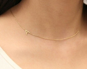 Gold Sideways Initial Necklace -Gold Necklace- Personalized Necklace -Gold Jewelry- Personalized Bridesmaid Gifts - Silver Letter Necklace