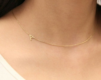 Personalized Initial Necklace -Gold Sideways Initial Necklace- Personalized Necklace -Gold Jewelry- Personalized Bridesmaid Gifts