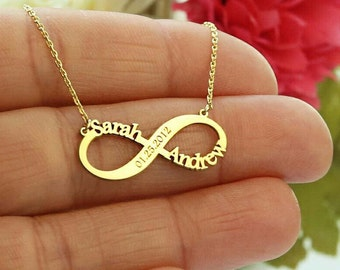 Personalized Infinity Necklace-Infinity Necklace-Gold Necklace-Infinity Name Necklace-Personalized Bridesmaid Gift-Custom Jewelry