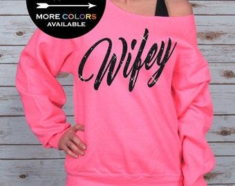 Wifey Shirt Off Shoulder Raw Edge Sweatshirt for Women GLITTER, future wifey, wifey tank, wifey sweatshirt, Plus Sizes (Black Glitter)