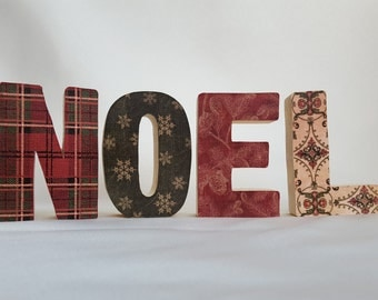 Small freestanding wood block NOEL sign, Handcrafted wooden decoupage letters, Christmas letter art