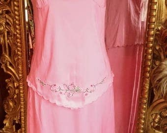 Vintage 2 piece Embroidered Cami and Skirt Set