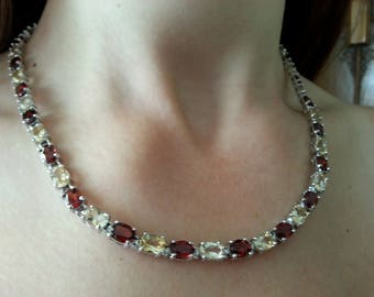 Stunning 49 Carats of Vintage Garnet and Citrine in Sterling Silver - 18 Inches