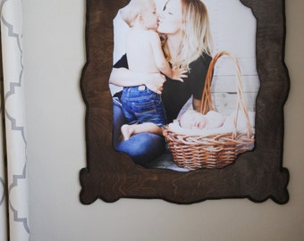 16x20 Stained Decorative Wood Picture Frame Cut Out Home Decor