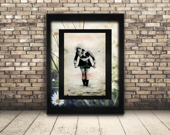 This Poster is High Resolution from a Vintage Black and White Photograph by Mack Sennett. Adorable Woman in Swimsuit from 1920's. Wall Art.