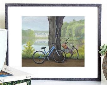 Bicycle digital painting, bicycle digital art, bicycle printable painting, bicycle painting, bicycle illustration, bicycle wall decor