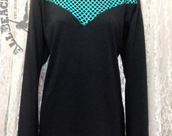 Fishnet Top, Fishnet Shirt, Long Sleeve, Top, Teal, Cotton, Soft Comfy and Stylish! Size Large, Ready to Ship, Other Sizes - Made to Order