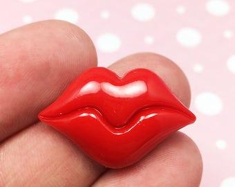 Red Lips Kawaii Resin Flat Back, Kiss, Love, (R015)