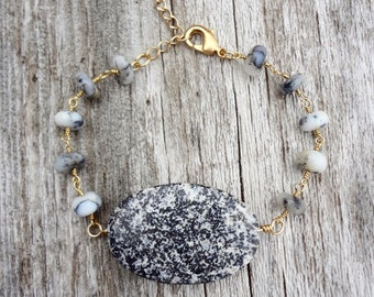 Bailey | Gold Dendritic Opal Bracelet, October Birthstone