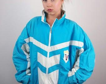Vintage 80's Unisex Retro Track Jacket | Windbreaker | 80's Sports Jacket | 80's Track jacket | size M-L