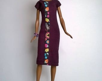Barbie dress in dark purple with Decoband patch