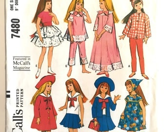 1964 Vintage SKIPPER Doll McCalls Dress Clothes Pattern #7480