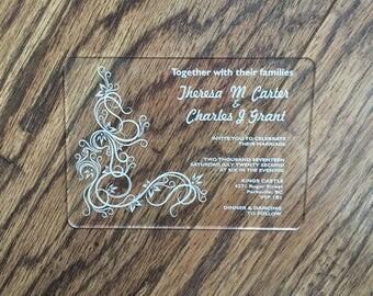 Acrylic Laser Engraved Wedding Invitation
