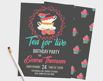 Tea for Two birthday invitation, Tea for Two birthday, Tea for Two invitation, Tea for two invitations, Tea Birthday Invitation, Tea Party,