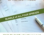 Bundle of Five Tarot Spreads PDF Printable pages - Printable planner inserts for tarot card readings and tarot journaling