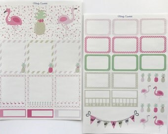 Pineapples and Flamingos planner stickers