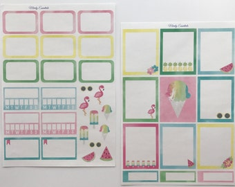 Watercolor Summer planner stickers