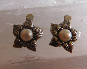 Silver Clip On Flower Earrings with Glass Pearls
