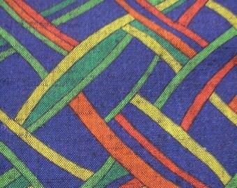 268: Vintage woman's kimono/casual/wool fabric/navy/red/green/yellow/blue/ribbon/net/70's