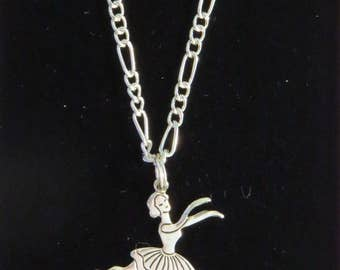 Ballet Dancer Necklace Silver Plate Ballerina Dancers Dancing Ballerinas Dance 16 or 18 inch Figaro Chain NS119