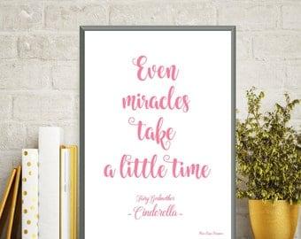 Disney print, Disney quote, Children poster, Cinderella, Girl room decor, Disney princess, Kids decor, Nursery print, Cinderella Disney gift