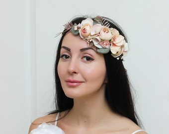 Blush pink beige eucalyptus wedding flower crown  Bridal headpiece Flower halo Floral crown Flower hair wreath Girl flower crown