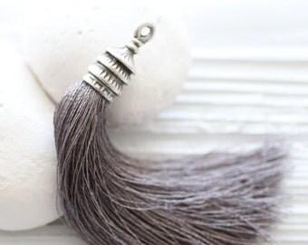 Silver cap gray silk tassel, long silk tassel, tassel pendant, silver tassel cap, grey tassel, jewelry tassels, decorative tassels, large,N2