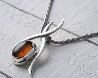 4.25cm Sterling Silver Bezel Set Natural Amber Pendant - Jewelry Making Amber Cabochon Pendant J769