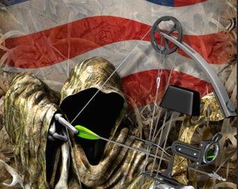 Bow Reaper American Flag Camo Cornhole Wrap Bag Toss Decal Baggo Skin Sticker Wraps