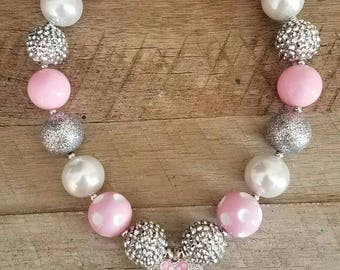 Mouse Inspired Chunky Necklace, Minnie Necklace, First Birthday, Bubblegum Bead Necklace, Baby Bubblegum Necklace, Second Birthday