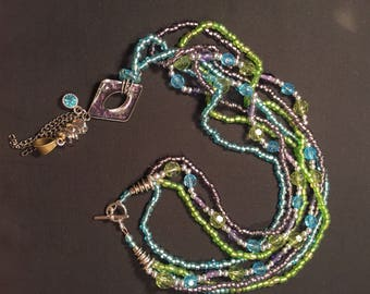 Purple Teal and Green Beaded Necklace with Pendant