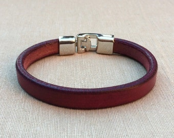 Leather Bracelet, leather bracelet, bracelet in dark red, bracelet for men, Bangle